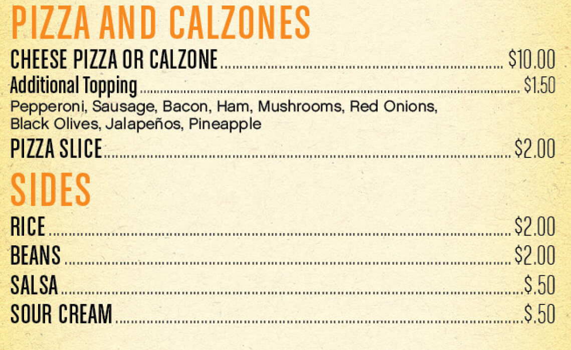 PIZZA AND CALZONES, SIDS MENU