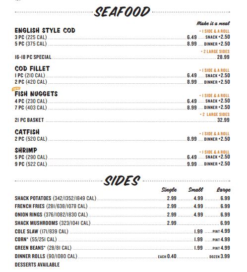 Seafood And Sides Menu