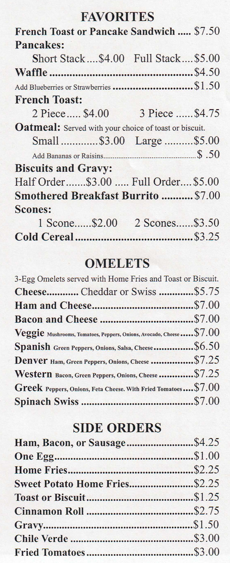 Sharon's Cafe Breakfast Favorites Menu