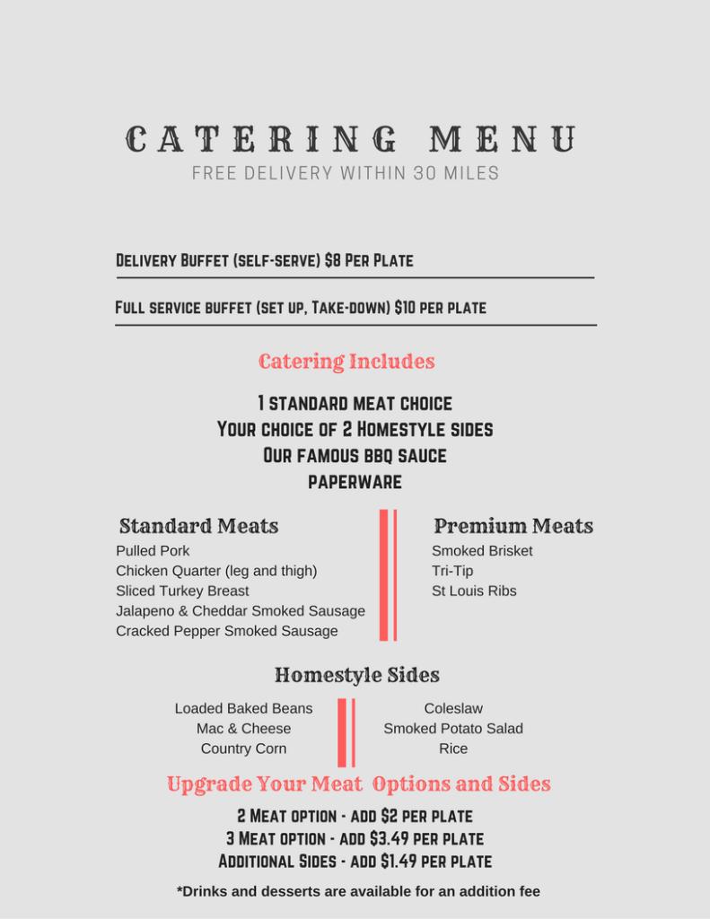 Smokin Star BBQ food truck Catering Menu