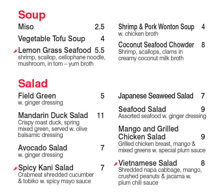 Soup & Salad Menu