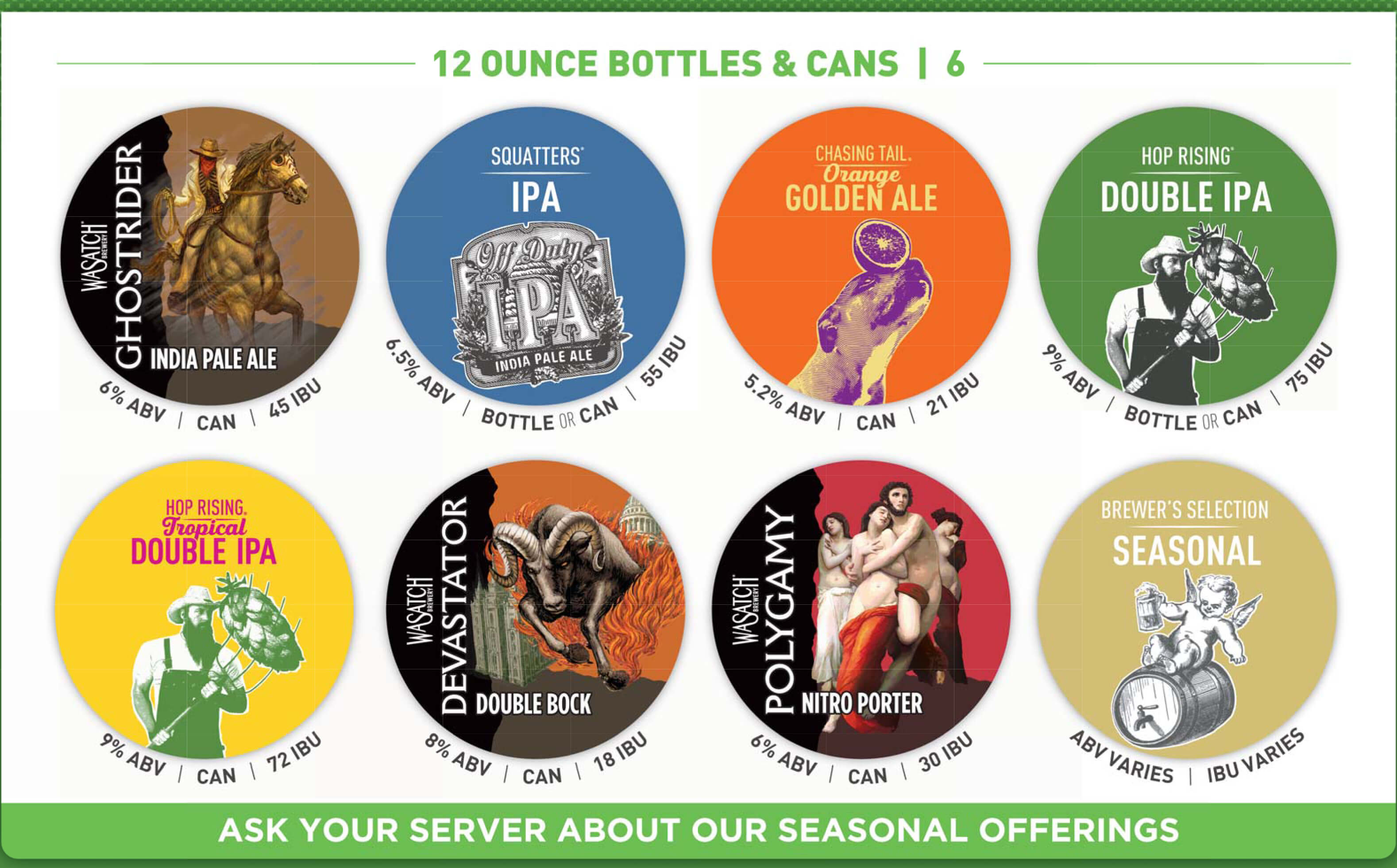 Squatters brew pub 12 ounce bottles and cans menu