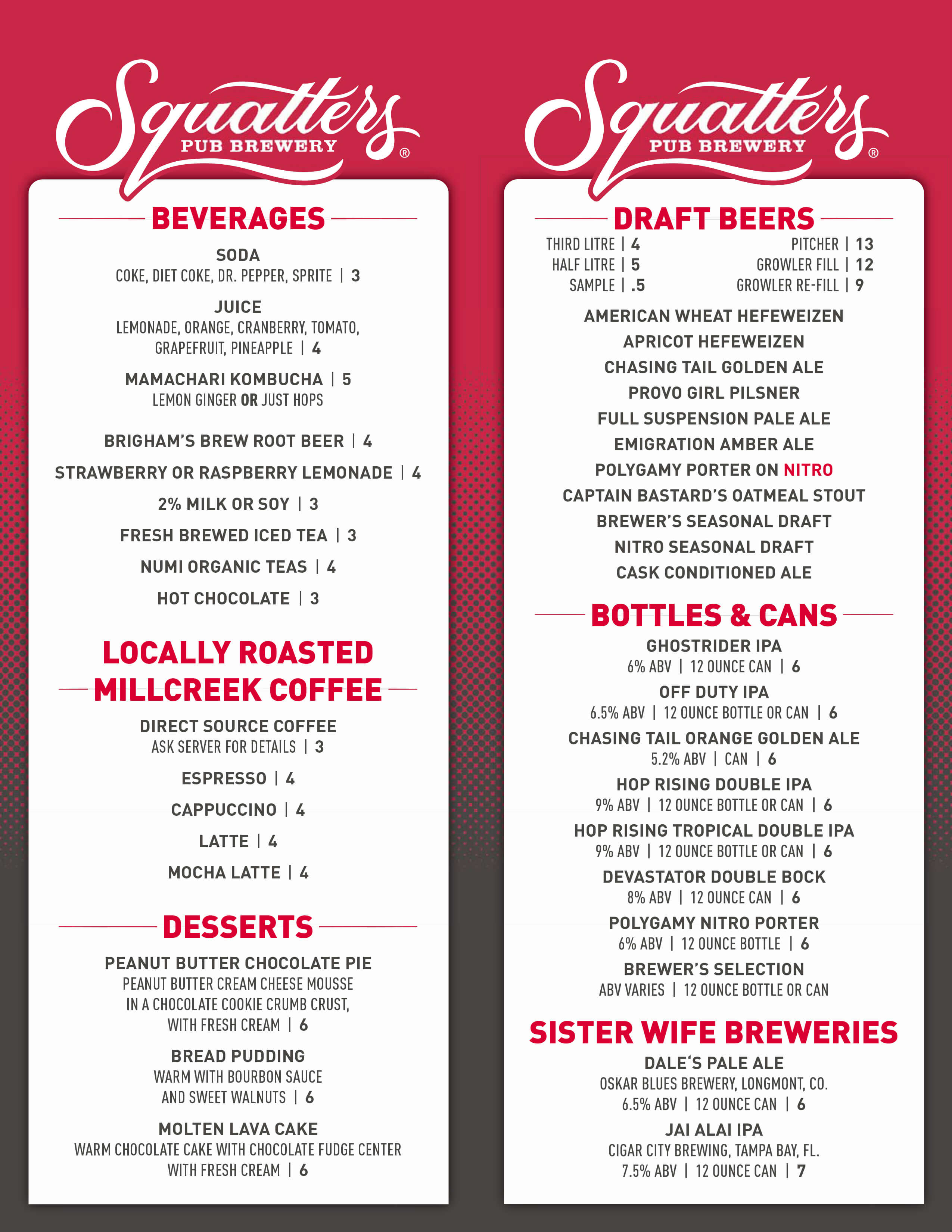 Squatters brew pub Table beer menu