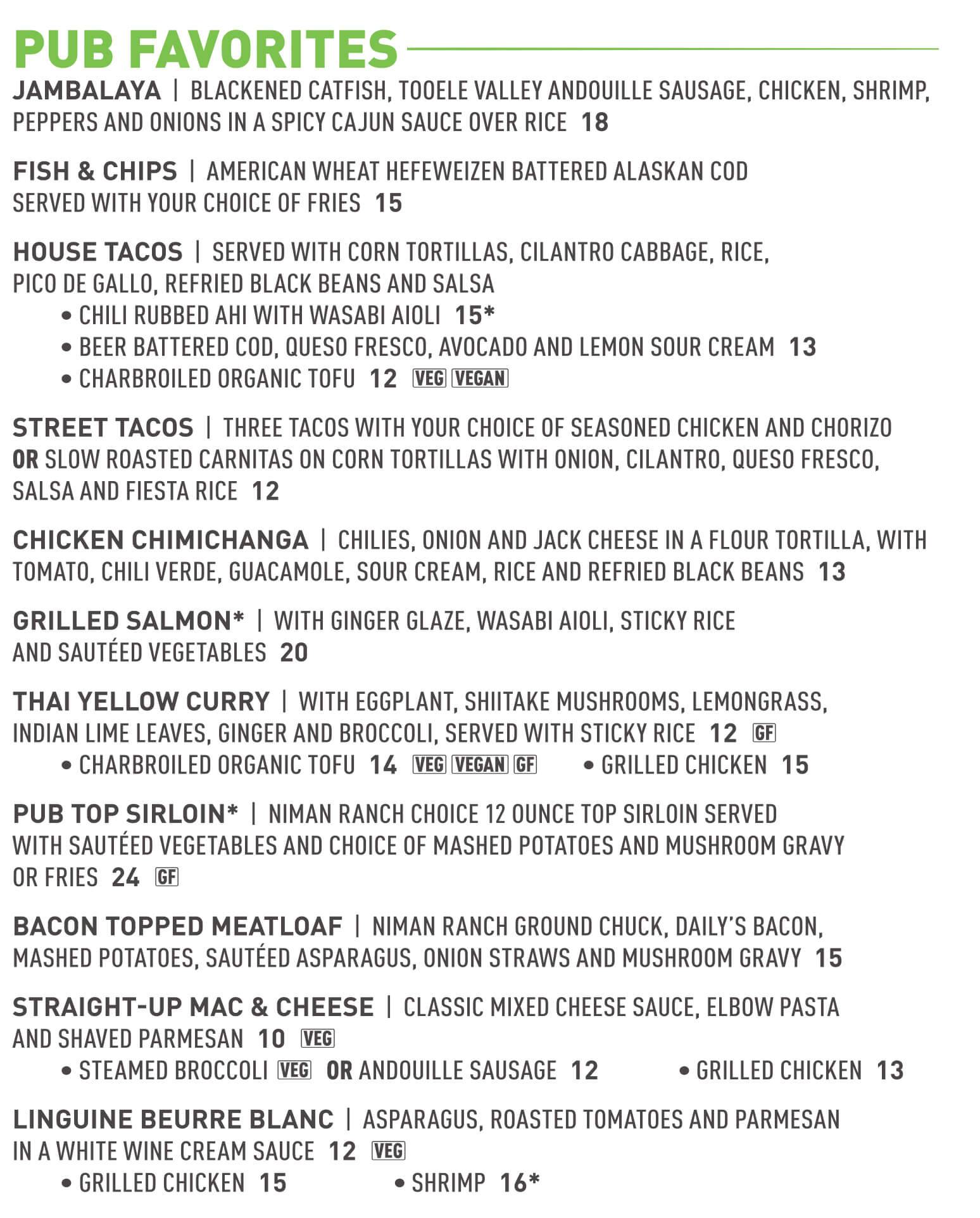 Squatters brew pub pub favorites menu