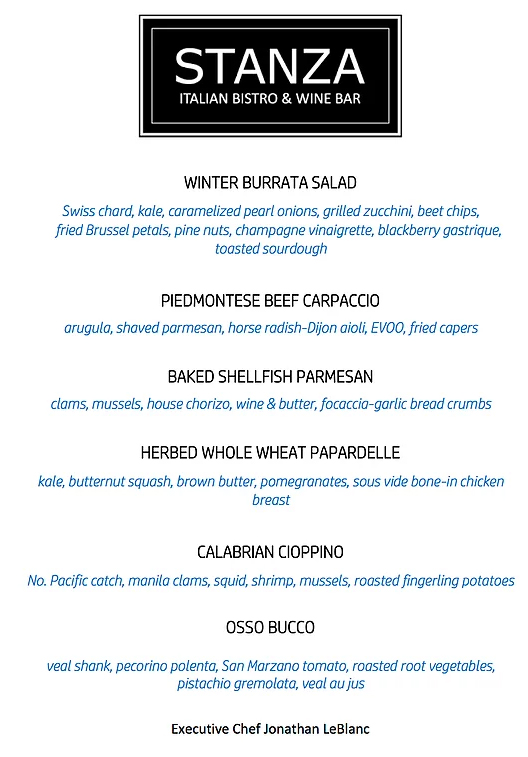 Stanza Italian Bistro Fall 2018 new items Menu
