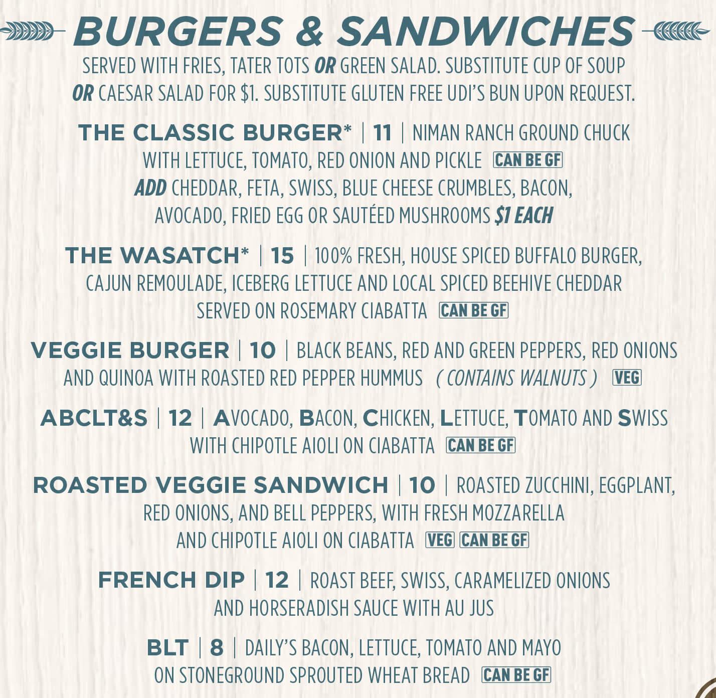 Wasatch Brew Pub Sugarhouse Brunch burgers & sandwiches menu