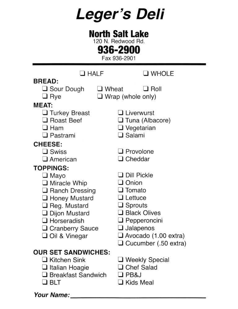 leger's deli menu