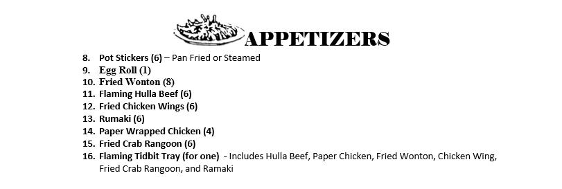Appetizers Menu