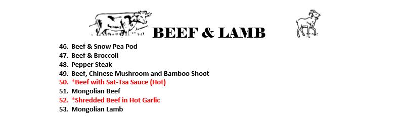 Beef & Lamb Menu