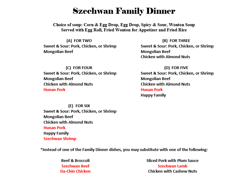 Szechwan Famiy Dinner Menu