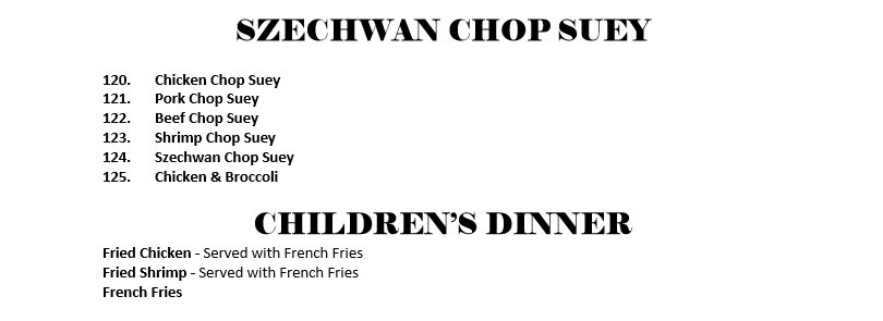 Szechwan Chop Menu