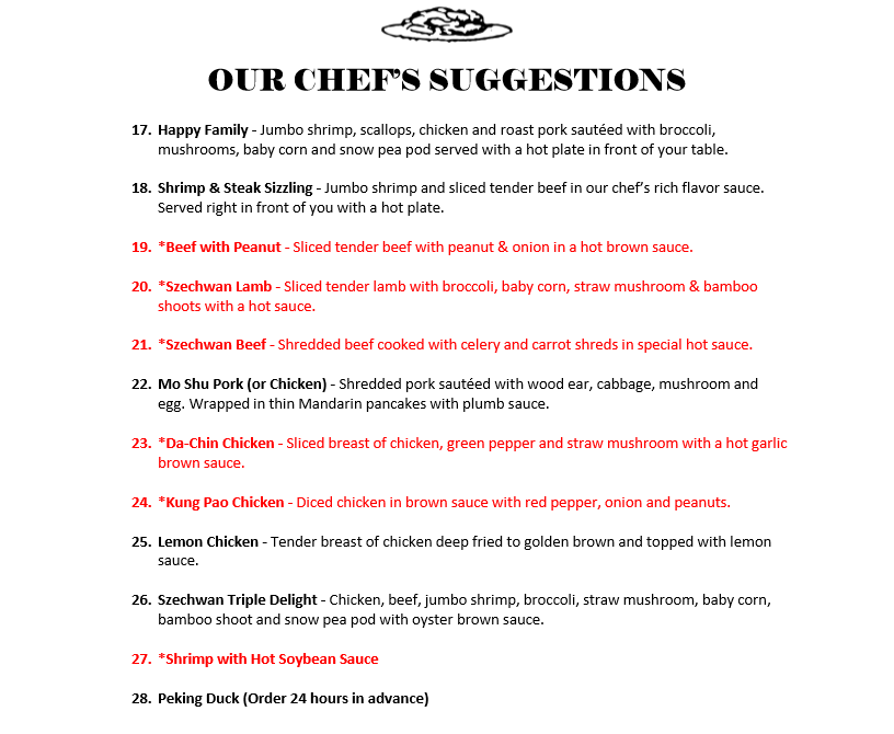 Our Chefs Suggestions Menu