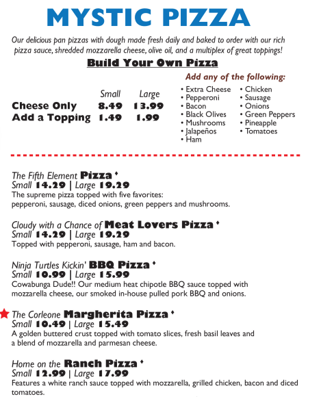 Mystic Pizza Menu