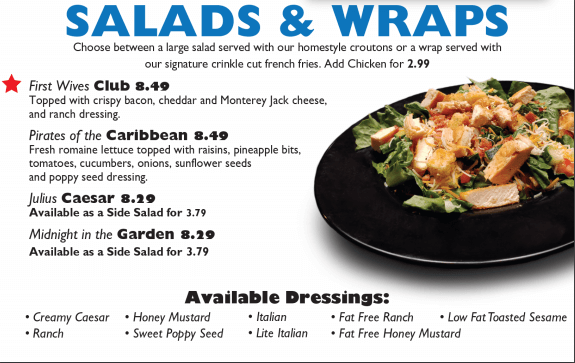 Salads & Wraps Menu